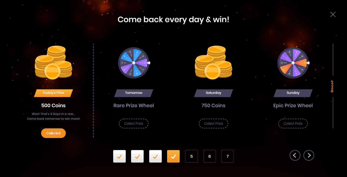 Social Tournament Login Reward Day 4